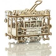 Puzzle 3D mecanic Wooden City Tramvai cu sine Lemn natur