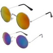 Mamta Creation Oval Sunglasses(Blue, Orange)