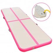 vidaXL Strunjača na napuhavanje s crpkom 800 x 100 x 10 cm PVC roza