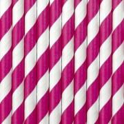 Geen 20x Papieren rietjes roze/wit gestreept
