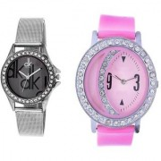 TRUE COLORS Beautiful Combo Colored Pink Rose In Black Forest Analog Watch - For Women