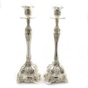 2 sfesnice din alpaca argintate, motiv Art Deco