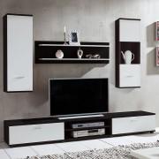 Set mobila living Grinda 4 piese, Pal, alb/negru, 200x195x38 cm