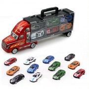 Transport Car Carrier Truck Boys Toy Stylish Metal Racing Cars for Toddlers Kids Children Boys and Girls (Includes Alloy Metal 12 Cars)