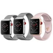 Apple Watch Series 4 44 mm Edelstahl GPS + Cellular silber Sportarmband weiß