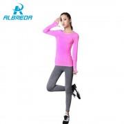 ALBREDA Yoga Shirt Women Gym Sports Fitness Women Running Clothes For Women Solid Long Sleeve Spring Autumn Base Shirt Fitness