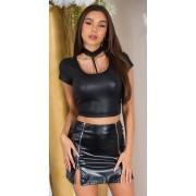Cosmoda Collection Sexy wet look shirt met choker zwart