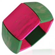 Rózsaszín - zöld színű fa karkötő