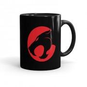 Caneca Porcelana Thundercats Logo Preta