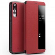 QIALINO View Window Cowhide Leather Smart Cover for Huawei P20 Pro - Red