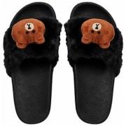 Bear style slippers for women and girls Black slides flip flop