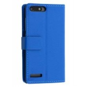 Synthetic Leather Wallet Case with Stand for Huawei Ascend G6 4G - Huawei Leather Wallet Case (Blue)