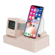 3-in-1 Retro Silicone Stand Holder for iPhone/Apple Watch/Airpods - Gold