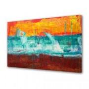 Tablou Canvas Premium Abstract Multicolor In Trei Culori Decoratiuni Moderne pentru Casa 80 x 160 cm