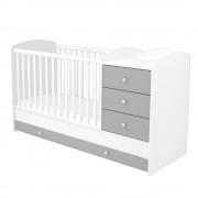Kombinált 3 fiókos gyermekágy ezüst-fehér színben