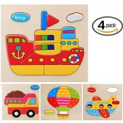 Vytung 3d Jigsaw Puzzles for Girls Boys Toddlers Babies Kids Wood Jigsaw Puzzle Toys for 2-5 years(Pack of 4)-Transportation-Truck Ship Plane Balloon