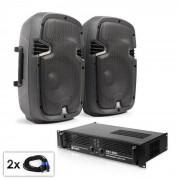 """Electronic-Star Conjunto PA """"SPJ Boom MKII"""" 2 altavoces de 8"""" & amplificador 800W (PL-6061-7574)"""