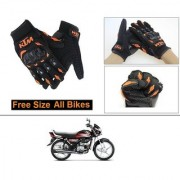 AutoStark Gloves KTM Bike Riding Gloves Orange and Black Riding Gloves Free Size For Hero HF Deluxe
