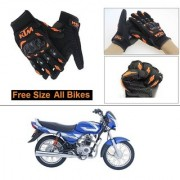 AutoStark Gloves KTM Bike Riding Gloves Orange and Black Riding Gloves Free Size For Bajaj CT 100
