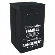 Linnea Panier à linge cartonnée avec couvercle 70L noir les Pros du rangement