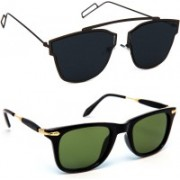 TheWhoop Wayfarer Sunglasses(Black, Green)