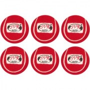 SVR Cricket Tennis Balls in Red for Adults - Pack of 6 Standard Size Selected Rubberized Heavy Quality