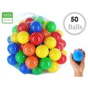 EevOveE ™ 50pcs Plastic Color Balls Genuine Quality Set of 50 balls - 8 cm Diameter Similar Size of Cricket Ball