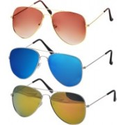 Freny Exim Aviator Sunglasses(Orange, Blue, Yellow)