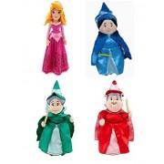"""Disney Aurora Sleeping Beauty Plush Doll Set With Fairies Merryweather, Fauna, Flora Set Of 4 Mini Plush (10"""" 11"""" H)"""