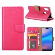 Luxe Lederen Bookcase hoesje voor de Huawei P20 Lite - Roze
