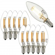 [lux.pro] Set de 10 bombillas LED E14 de filamento luz blanca cálida 2700K luz 350lm 3W vela