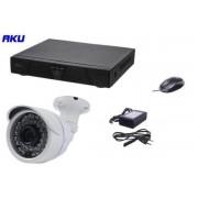 Kit Supraveghere Video AKU Ak9103, 1 camera interior/exterior, 1MP, DVR 4 canale, Compresie H264, AHD