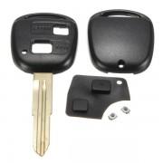 2 Knoppen Lock en Unlock Afstandsbediening Sleutelhanger Shell Rubber Pad Switch Blade Sleutel Case Black Reparatie Vervanging Cover Toyota Yaris
