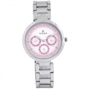 Titan Quartz Pink Round Women Watch 2480SM05