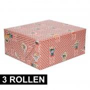 Shoppartners 3x Rol met Pietjes inpak papier