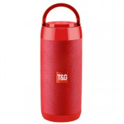 TG113C Column Portable Bluetooth Speaker FM Waterproof Subwoofer Phone Holder Wireless Loudspeaker - Red