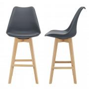 Комплект от 2 бар стола [en.casa]® , корпус от Бук, тапицирани с еко кожа, 105 cm високи, Сиви