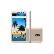 Smartphone MS80 64GB Tela 5,7 HD 4GB RAM Android 7.1 Qualcomm Dual Câmera 20MP+8MP Dourado NB725 - Multilaser
