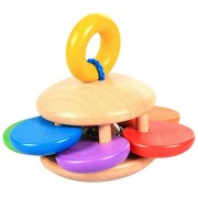 HATCHMATIC GeekFun Baby Kids Wooden Bell Rattle Toy Baby Handbell Musical Educational Instrument Rattles for Toddlers Babies Juguetes: 01