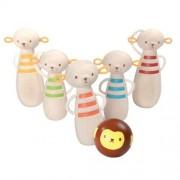 Plan Toys Drewniane kręgle małpki - zabawka zręcznościowa dla najmłodszych,