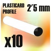 Green Stuff World ABS Plasticard - Profile ROD 2,5 mm (ABS rúd profil 2,5 mm)