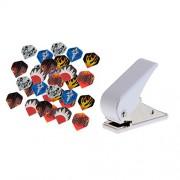 ELECTROPRIME 30 Pieces Standard Shape Dart Flights and Dart Flight Punch Hole Puncher Set