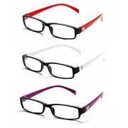 MagJons Red White Purple Rectangle Unisex spectacles eye wear frame - Combo Of 3