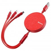 Baseus 3-in-1 Retractable USB Cable - 1.2m - Red
