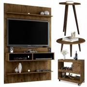 Conjunto Para Sala Com Painel Vega, Mesa de Centro e Apoio Brilhante Com Aparador Cristal - Madeira Rústica - Móveis Bechara