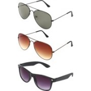 Abner Aviator, Aviator, Wayfarer Sunglasses(Green, Brown, Black)