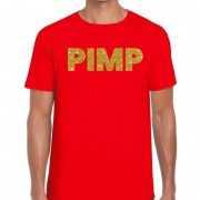 Bellatio Decorations Pimp glitter tekst t-shirt rood heren