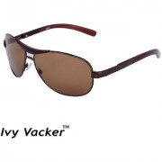 Ivy Vacker Glass Lens Brown Rectangular Sunglasses for Men