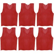 SAS Sports Training Bibs Scrimmage Vests Pennies for Soccer - Large size (62 x 54cm) Maroon color Set of 6