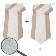 2x Tischläufer Glitzer, Tischdecke Tischdeko Mitteldecke, beige Glanz-Effekt 180x33cm ~ Variantenangebot